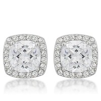 Clarissa Cushion Halo Stud Earrings