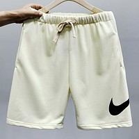 NIKE Summer New Fashion Hook Print Shorts Beige