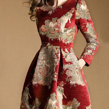 Red Harvest Embroidery Long Sleeve High Waisted Dress