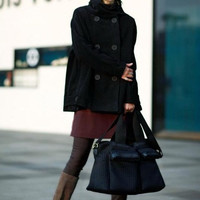 Winter Cloak wool coat Double breasted stand collar wool coat