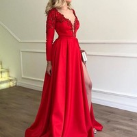 Evening Dress Red V Neck Prom Dresses Long Sleeves