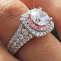 New princess ring European and American simulation diamond couple wedding jewelry