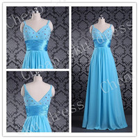 2014 Custom Made Fashion A-line Beads V-Neck Chiffon Ruffle Floor-length Sexy Bridesmaid/Party /Evening/Prom /Formal Dresses 2014