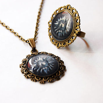 The House Nymeros Martell of Sunspear Crest Set - House Martell Crest Necklace + Ring - Game of Thrones Jewelry - House Martell Jewelry