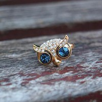 Cute Big Eye Owl Open Ring Gold 739 from topsales
