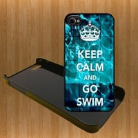 Keep Calm And Go Swim Custom Case/Cover FOR Apple iPhone 4 /4S BLACK Plastic snap Case WITH FREE SCREEN PROTECTOR ( Verison Sprint At&t)