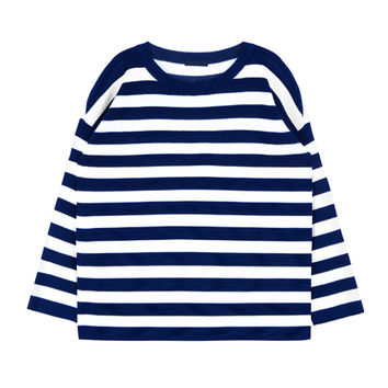 Striped Knit Loose Fit Long Sleeve Top | MIXXMIX