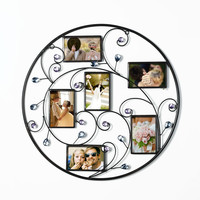 Brown Black Decorative 6-Opening Collage Bronze Iron Metal Wall Haning Scroll Picture Photo Frame