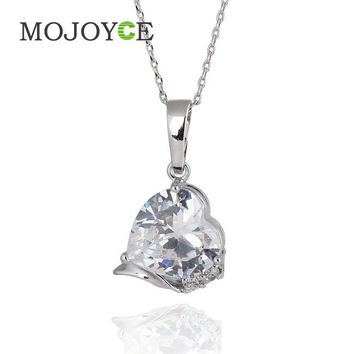 Silver Love Heart Shape Crystal Zircon Woman Jewelry Pendant Chain Necklace  SN9