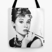 Audrey Hepburn Pencil drawing Tote Bag by Thubakabra