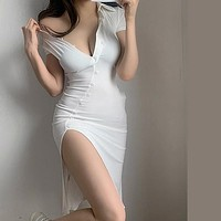 New French Flannel Button Side Slit Irregular Button Sexy Mini Party Dress White Girl Female Vintage