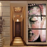 3 pcs Wall Art Religion Buddha Oil Style Painting print On Canvas For living Room Decoration picture no frame