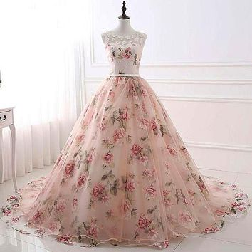 Romantic Sweetheart Ball Room Tank Sleeveless Flower Lace Up Evening Gown