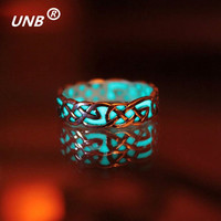 Luminous Ring Glow In The Dark Fluorescent Glowing Stone One Lord Silver Plated Party  Maya Rings