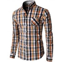 Doublju Men's Casual Button Down Shirts Of Plaid Check Patterned (KMTSTL0118)