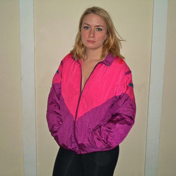 1990s Hot Neon Pink Purple Windbreaker Jacket, 90s Fun Wind Breaker Zip Up