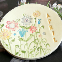 Ceramic Ring Dish Personalized Flower Plate Colorful Mother's Day Gift  Pottery Dish
