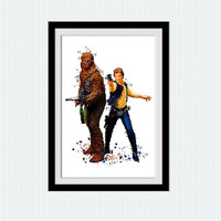 Han Solo poster Han Solo and Wookiee watercolor print Star Wars art poster Star Wars decor Home decoration Child room decor Gift art W656