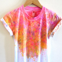 Splash Dyed Hand PAINTED Crew Neck Pinned Rolled Cuffs Tee in White Spectrum Acid Pink - S M L XL 2XL 3XL