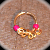 Small Nose Ring,  Heart Swirls Fuchsia Cartilage Ring, Nose Hoop, Helix Hoop, Nose Rings, Septum Hoop Piercing Jewelry