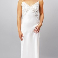 "100% Silk Charmeuse Bridal Nightgown w/Lace Bodice ""Natalia"" (Small-Large)"