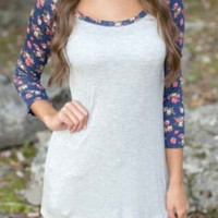 White And Blue Floral Print Sleeve Shirt