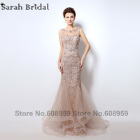 Luxury Rhinestone Mermaid Dubai Long Evening Dresses New Blush Crystal Beaded Pearl Sheer Prom Dress Vestido De Festa LX006