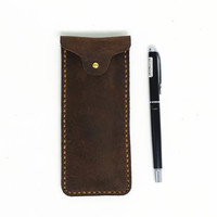 Personalized Pen Case Pen Sleeve, Vegetable-tanned Leather, Handmade Hand-stitched Personalized Minimalist Pen Case Add initials /556