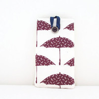 Umbrella Iphone 6 plus case purple umbrella hand printed fabric , cell phone sleeve large 6 inch phablet case Sony Xperia Z ultra, Uk seller