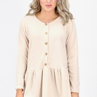 Fleece Sweater Relaxed Peplum Blouse {Natural}