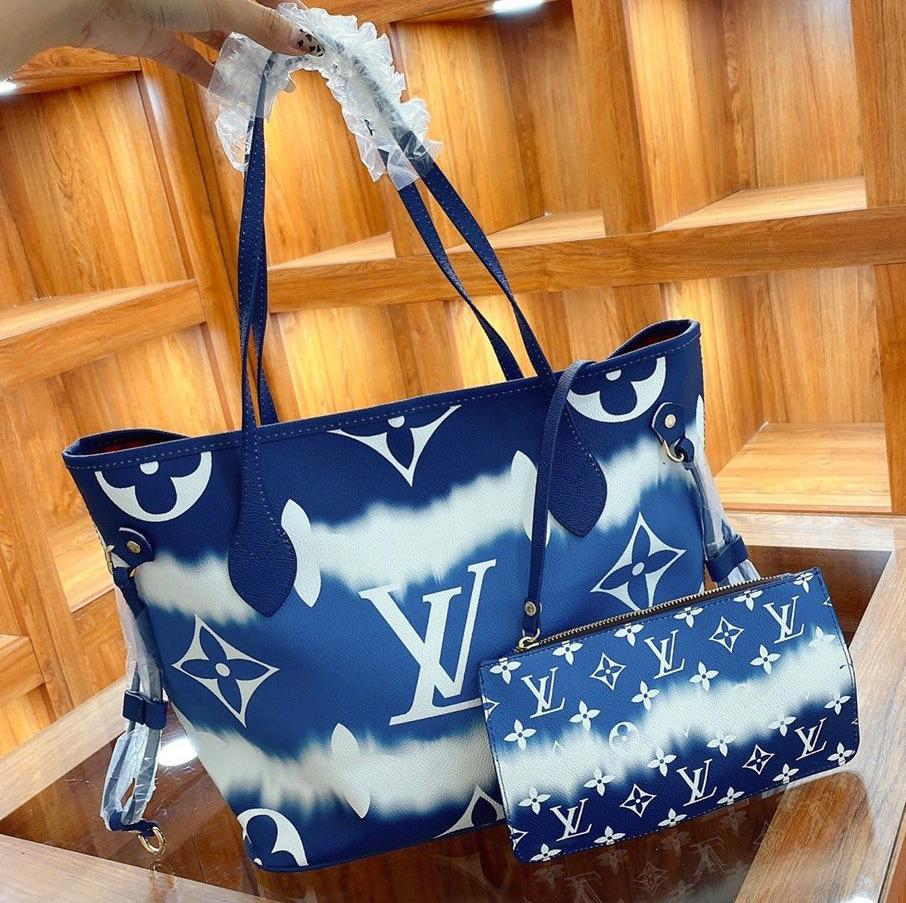 Image of Louis Vuitton Classic Letter Print Shopping Bag with Small Wallet Fashion Lady Messenger Shoulder Bag Blue
