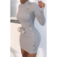fhotwinter19 Ladies Hot Sale Sexy Slim Single Breasted Long Sleeve Dress