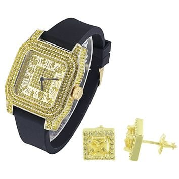 Hip Hop Yellow Canary Stones out Watch with Matching Earrings Combo Set