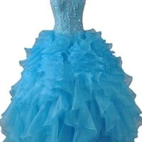 Sunvary Blue Rhinestone Ball Gown Pageant Dress Prom Dress for Quinceanera