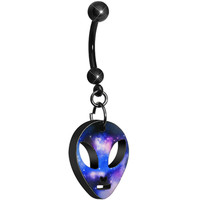 Black Titanium Galaxy Alien Head Belly Ring | Body Candy Body Jewelry