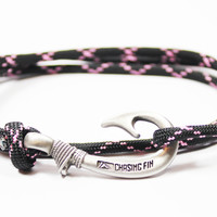 Pink and Black Fish Hook Bracelet (New)