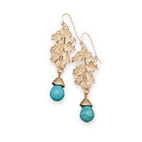 Gold Tone Leaf Fashion Earrings with Magnesite