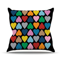 """Project M """"Up and Down Hearts on Black"""" Throw Pillow"""