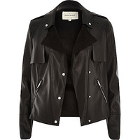 River Island Womens Black leather-look cropped trench jacket