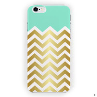 Mint And Gold Chevron Design Cute For iPhone 6 / 6 Plus Case