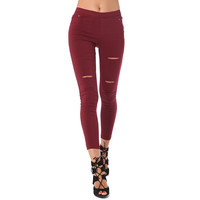 Burgundy High Waist Full Length Leggings With Thigh Rip