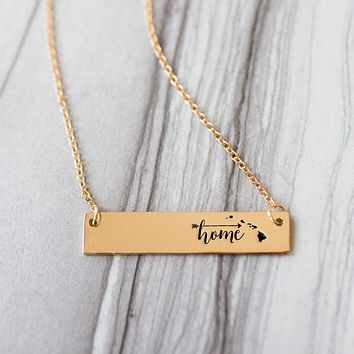 Home is Hawaii Gold / Silver Bar Necklace