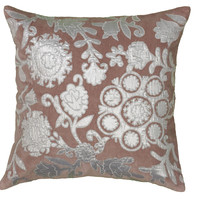 """Applique and Embroidered Plum Pillow Cover (18"""" x 18"""")"""
