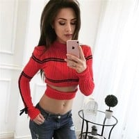 Knit Tops Sexy Round-neck Long Sleeve Pullover Slim Sweater [11980274703]