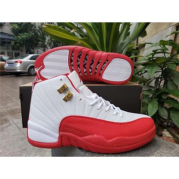 Air Jordan 12 Retro White/Red Basketball Shoes
