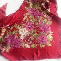 Satin Red Floral scarf, Christmas gift for Coworker, Office neckerchief, Birthday Gift for Boss, Chemo head scarf under 10, Pretty red scarf