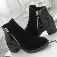 2015 spring autumn women ankle boots pu leather suede Splice black blue high heels boots shoes women pca14