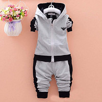 2019 spring Kids Clothes set Fashion Casual Letter Gray Zipper Hoodie+ Pants Baby Boys 2pcs Sets girl fall clothes Children Suit