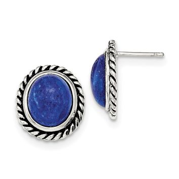 Sterling Silver Polished/Antiqued Lapis Cabochon Post Earrings QE12584