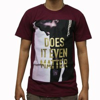 ONETOW DIEM Drapped UP T-Shirt In Burgundy